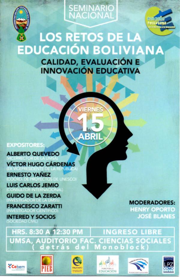 Seminario: Los Retos de la Educación Boliviana: Calidad, Evaluación e Innovación Educativa