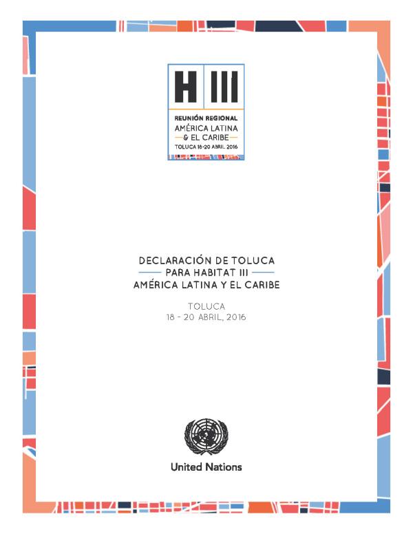 Declaración de Toluca para Hábitat III América Latina y el Caribe