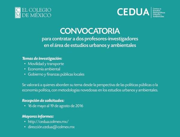 Convocatoria para contratar a dos profesores-investigadores en el área de estudios urbanos y ambientales en El Colegio de México