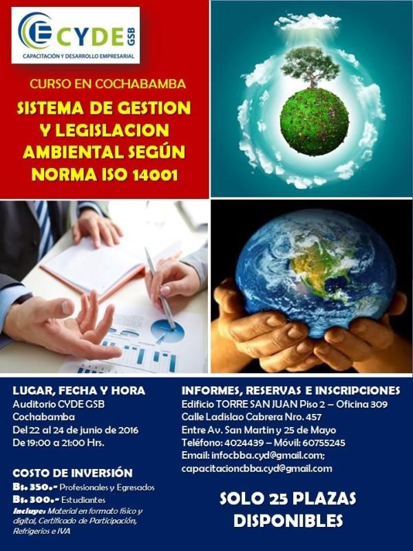 Curso Taller: Sistema de Gestión y Legislación Ambiental según Norma ISO 14001
