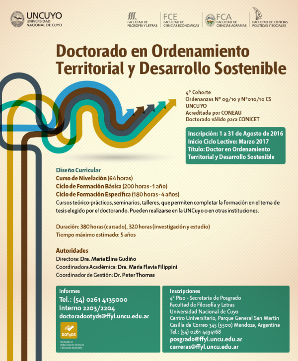 Doctorado en Ordenamiento Territorial y Desarrollo Sostenible. Universidad Nacional de Cuyo, Mendoza, Argentina
