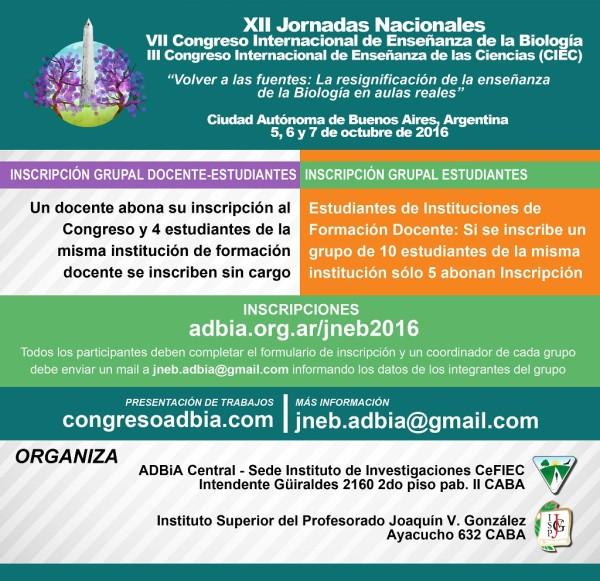 XII Jornadas Nacionales – VII Congreso Internacional de Enseñanza de la Biología – III Congreso Internacional de Enseñanza de las Ciencias (CIEC)