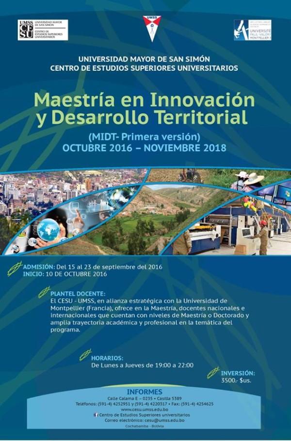Maestría en Innovación y Desarrollo Territorial