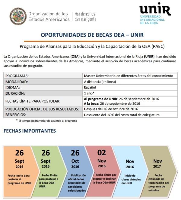 Oportunidades de Becas OEA – UNIR: Master Universitario en diferentes áreas del conocimiento