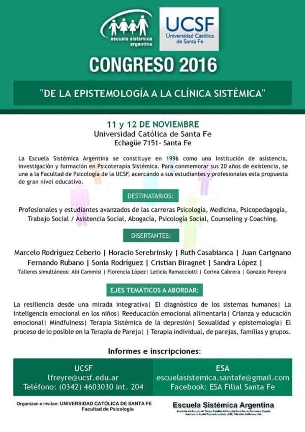 """Congreso 2016 """"De la Epistemología a la Clínica Sistémica"""""""