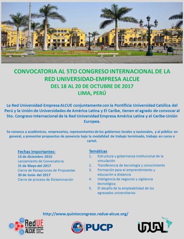 Convocatoria 5to Congreso Internacional de la Red Universidad-Empresa ALCUE