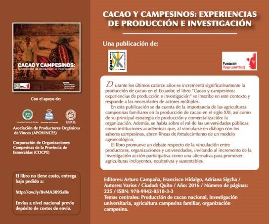 """Libro: """"Cacao y Campesinos: experiencias de producción e investigación"""""""