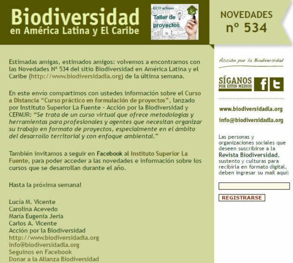Novedades Nº534 del Sitio Biodiversidad de América Latina y El Caribe