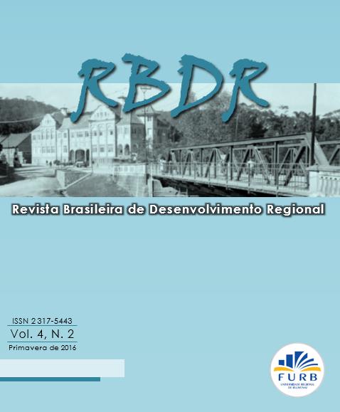 Revista Revista Brasileira de Desenvolvimiento Regional. Volumen 4, Número 2 (2016)