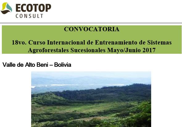 18vo. Curso Internacional de Entrenamiento de Sistemas Agroforestales Sucesionales