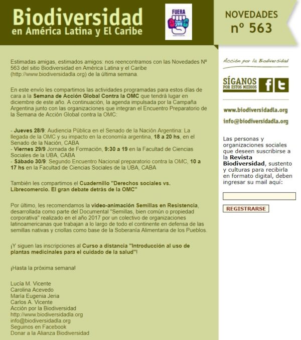 Novedades Nº563 del Sitio Biodiversidad de América Latina y El Caribe