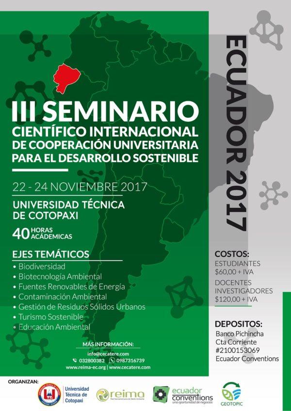 III Seminario Científico Internacional de Cooperación Universitaria para el Desarrollo Sostenible - Ecuador 2017