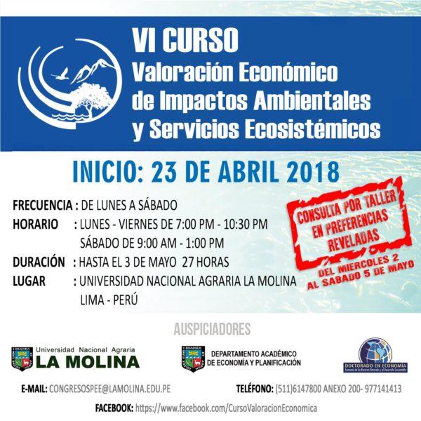 VI Curso Valoración Económica de Impactos Ambientales y Servicios Ecosistemas - IV Taller de Preferencias Reveladas.