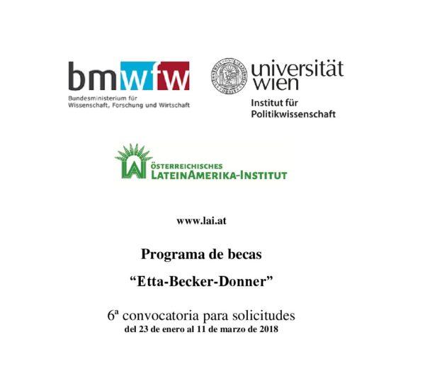 """Becas """"Etta Becker-Donner"""" para investigadores de América Latina"""