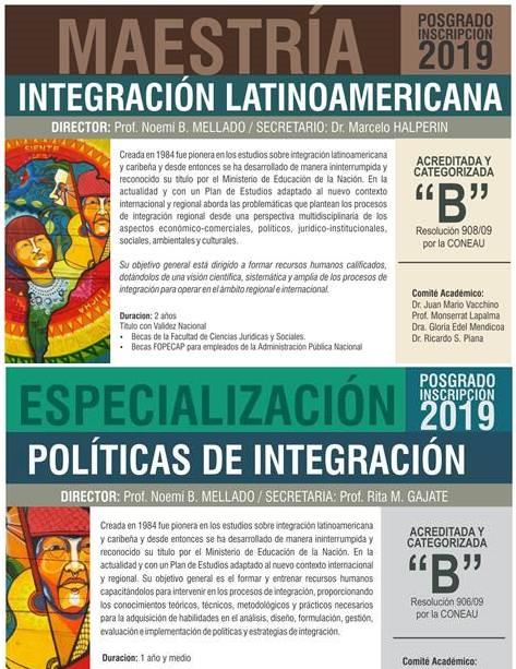 Inscripción Maestria en Integración Latinoamericana y Especialización en Políticas de Integración
