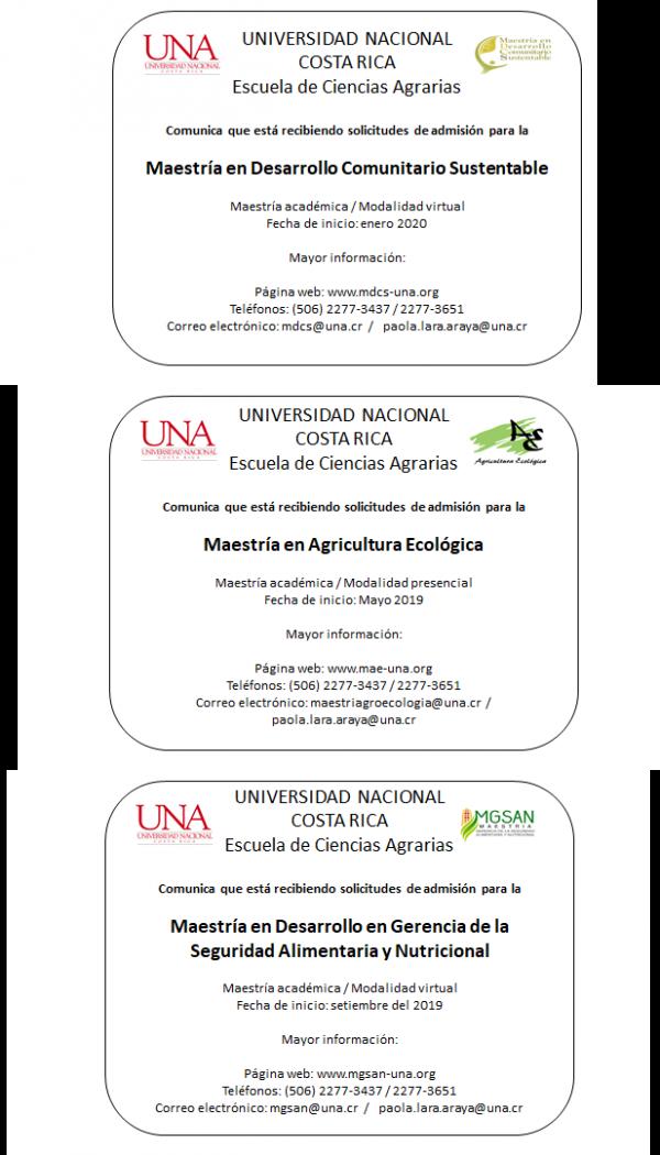 Apertura posgrados - Escuela de Ciencias Agrarias - UNA