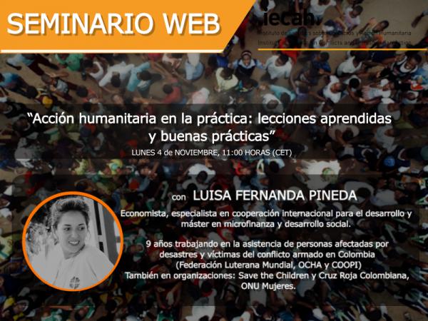 """Invitación al Webinar """"Acción humanitaria en la práctica: lecciones aprendidas y buenas prácticas"""""""