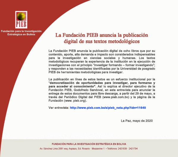 La Fundación PIEB anuncia la liberación de libros indispensables para la investigación