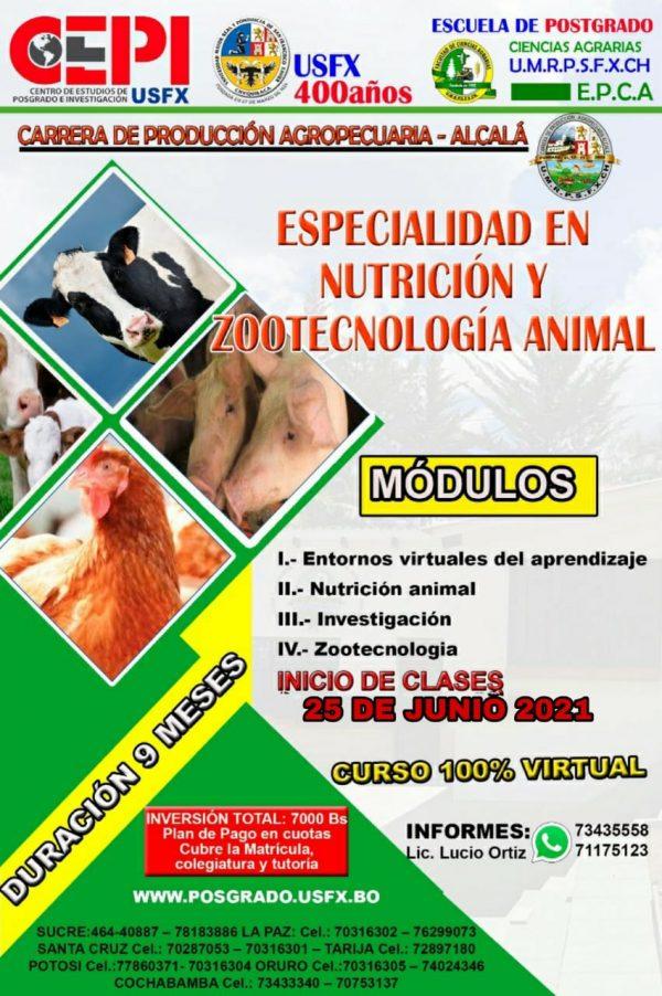 Especialidad Técnica en Nutrición y Zootecnología Animal, Versión I, Sede Sucre